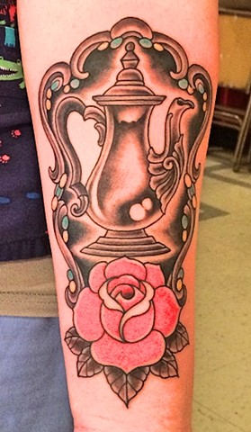Antique coffee pot tattoo by Dirk Spece at Gold Standard Tattoo in Bend, OR.