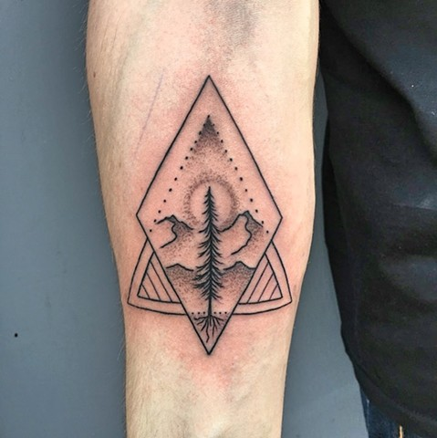 Dotwork lone pine tattoo by Kc Carew at Gold Standard Tattoo in Bend, OR.