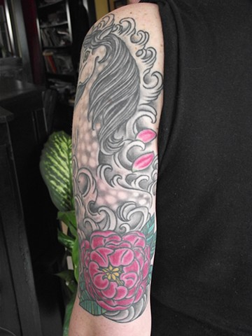 Horse, flower & waves half sleeve (back). Dirk Spece. Gold Standard Tattoo, Bend, Or.