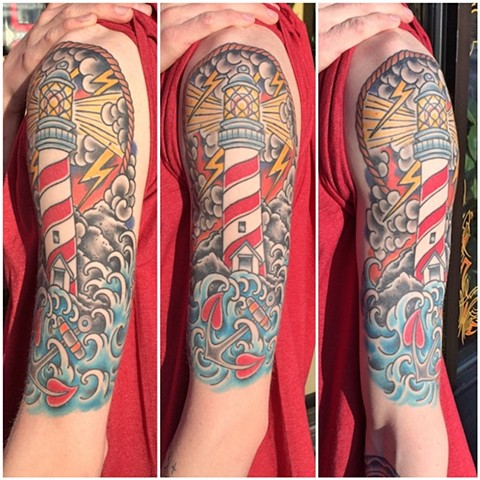 Half-sleeve lighthouse tattoo by Dirk Spece at God Standard Tattoo in Bend, OR.