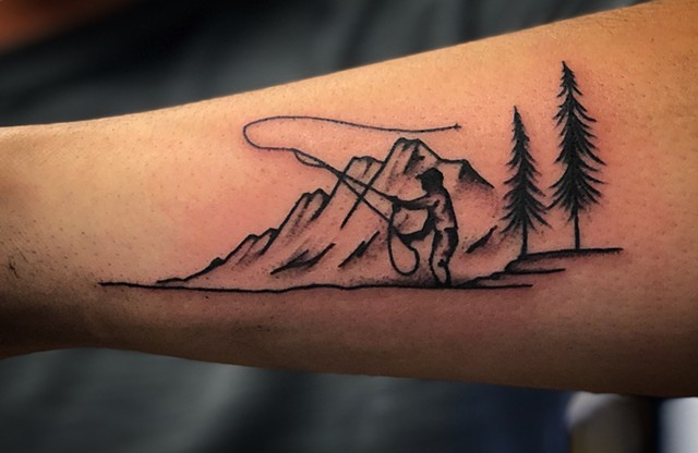 Fly fishing heaven tattoo by Kc Carew at Gold Standard Tattoo in Bend, Oregon