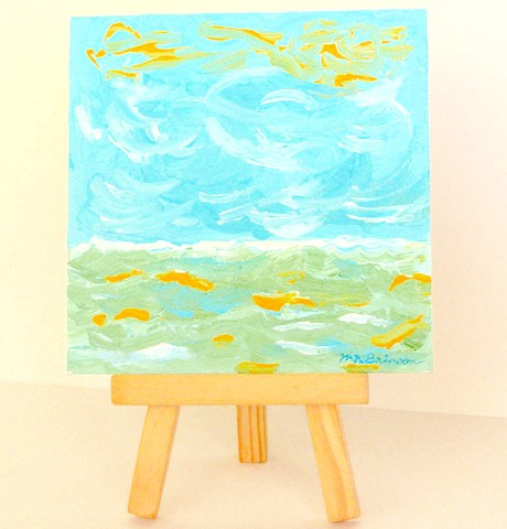 This ORIGINAL acrylic  beach art painting, Sunny Day at the Seashore, by Martha Kuper Brinson, is a seascape showing a frothy white ocean and blue sky.