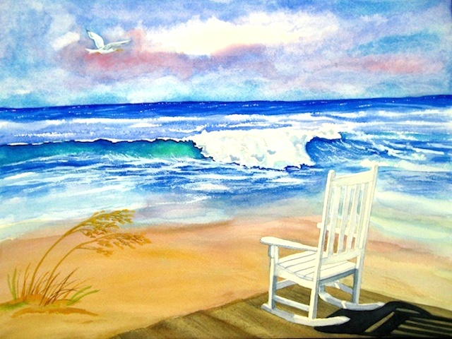 An invitingly empty rocking chair faces a bright blue ocean while a sea gull floats by in a sunny sky.