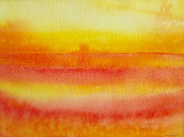 An original abstract watercolor painting is ablaze with colors of orange and red.