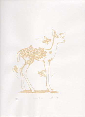 Gold Print of Fawn with honeycomb pattern and bees