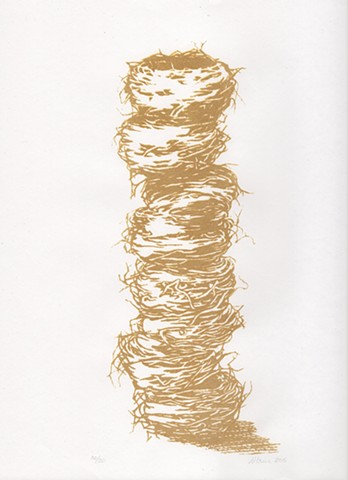 Gold coloured silk-screen of birds nest drawing