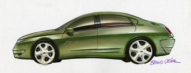 Oldsmobile Intrigue Concept Rendering Green Exterior Side View