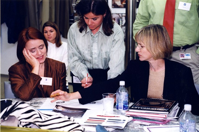 Brigid O'Kane working with Dana Buchman and Karen Harrman.