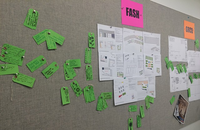 Faculty feedback was collected through a process of displaying information so they can make comments on green cards.
