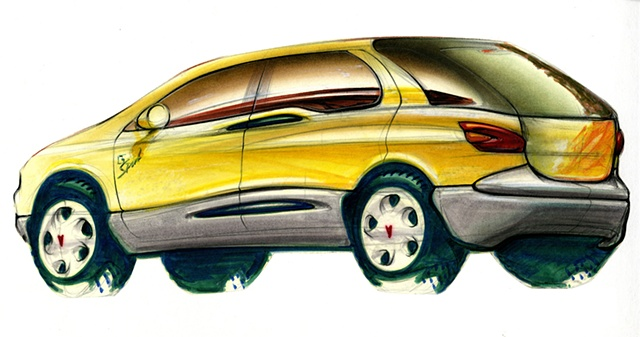 Aztek Concept Rendering Yellow Rear 3/4 View