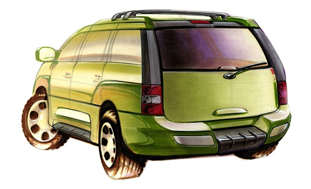 Cadillac Escalade Concept Rendering Green Rear 3/4 View