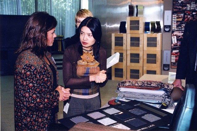 Brigid O'Kane working with Vivienne Tam
