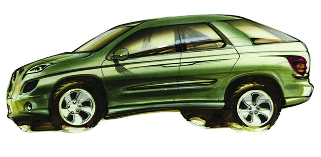 Aztek Concept Rendering  Green Side View  Wagon Inspired