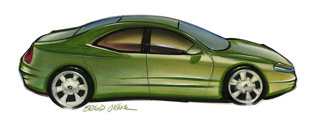 Oldsmobile Intrigue Concept Rendering Green Exterior Tilted Side View