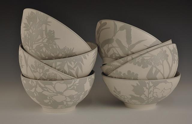 Grey Porcelain Bowls, Set