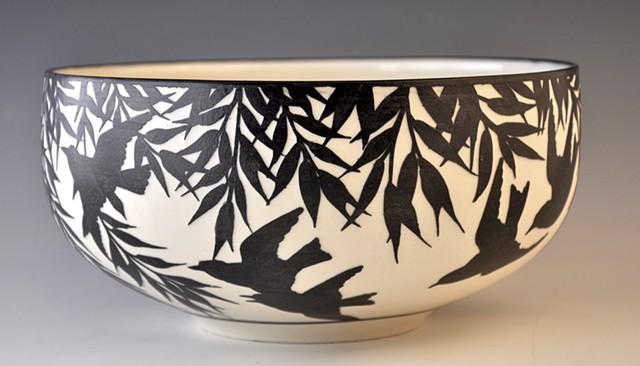 Black Etched Porcelain Bowl, Large
