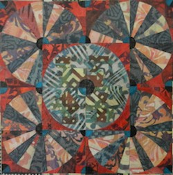 Alice Spencer artist collage hand-stenciled Asian paper on board Circle Kasaya Patchwork Series Turtle Gallery Deer Isle Maine