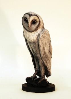 Treacy Ziegler Owl bronze sculpture black white patina Turtle Gallery Deer Isle Maine