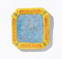 Barbara Sullivan buon fresco artist square plate Turtle Gallery Deer Isle Maine