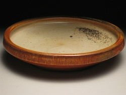 Abigail Aby Milner ceramic artist clay stoneware woodfired glazed Temmoku handbuilt shallow dish Turtle Gallery Deer Isle Maine