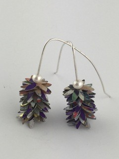 Sarah Doremus Tin Flower earrings does math mixed metals jewelry pearls sterling silver painted recycled tin Turtle Gallery Maine