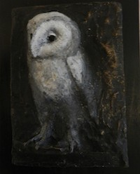 Treacy Ziegler Owl bronze relief sculpture black white patina Turtle Gallery Deer Isle Maine