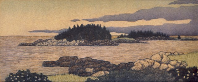 James Groleau printmaker prints mezzotint artist Corea Harbor Turtle Gallery Deer Isle Maine