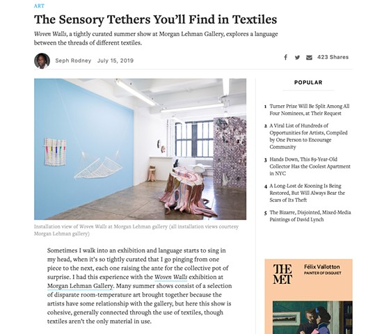 """The Sensory Tethers You'll Find in Textiles"". Hyperallergic.com"