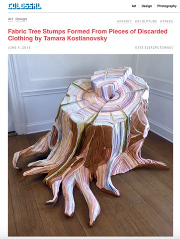 Fabric Tree Stumps Formed From Pieces of Discarded Clothing by Tamara Kostianovsky, Colossal
