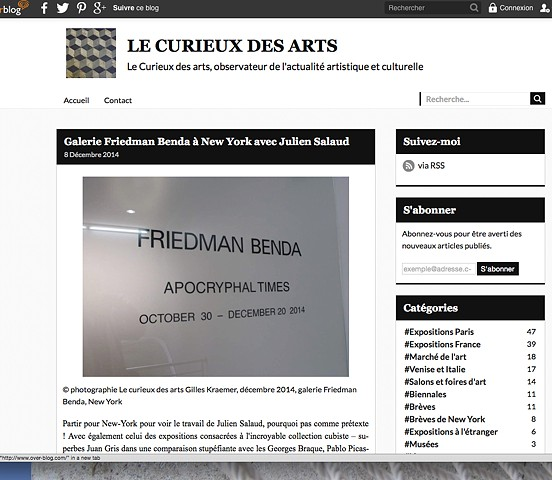 Review of Apocryphal Times Exhibition, at Friedman Benda Gallery, Les Curieux des Arts