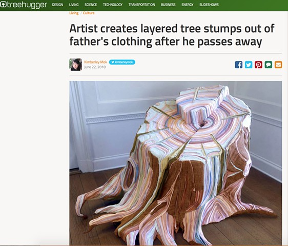 Artist creates layered tree stumps out of father's clothing after he passes away, Treehugger.com