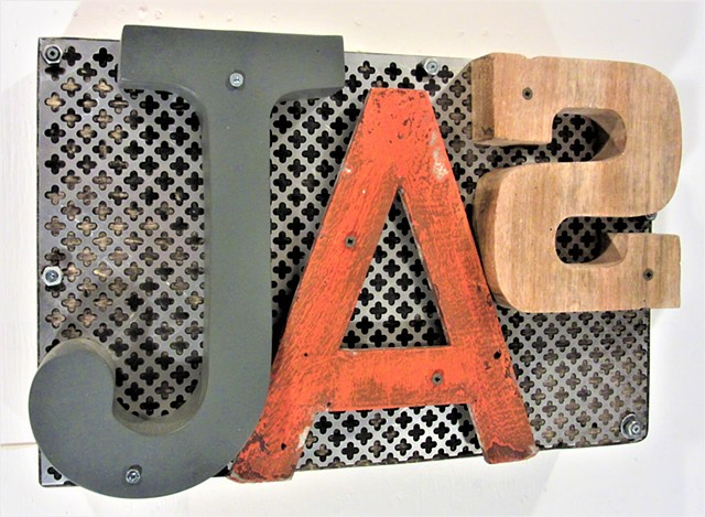mixed media typography art found object art