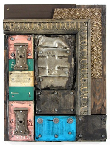 assemblage mixed media art encaustic recycled