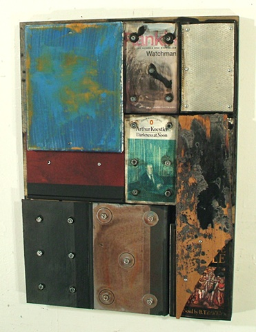 book art, oil, encaustic, assemblage