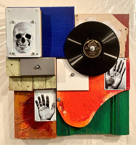 mixed media oil painting assemblage encaustic book art Schwitters Rauschenberg