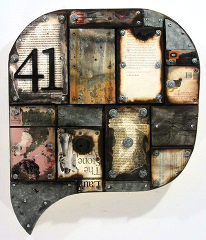 book art burning assemblage Schwitters collage encaustic Marc Gagne