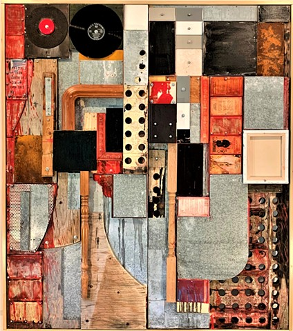 door art rauschenberg recycle encaustic reclaimed assemblage