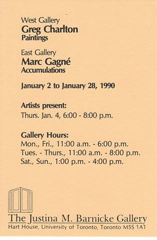 Justina M. Barnicke Gallery invite, 1990