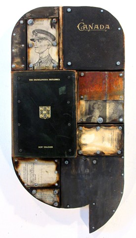 (book art) assemblage Gagne encaustic mixed media