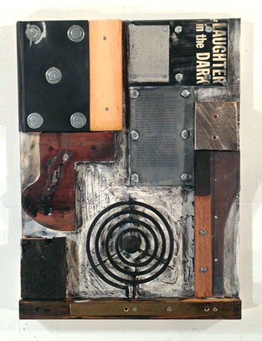 Mixed media, assemblage, encaustic
