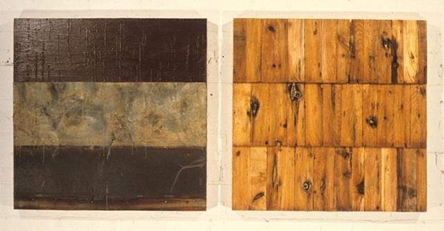oil, wax, encaustic, metal, wood