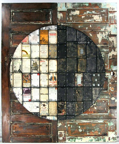 Assemblage art doors mixed media