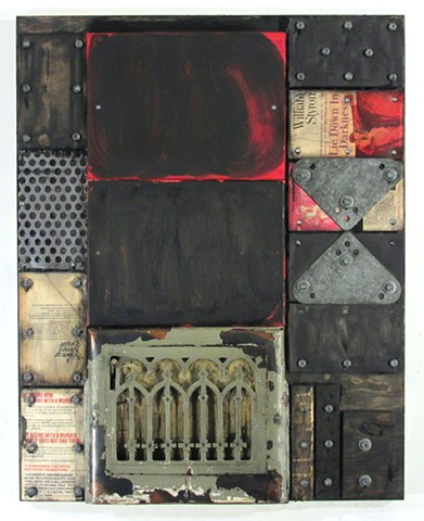 mixed media art encaustic recycled assemblage
