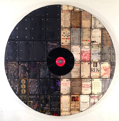 Vinyl records, encaustic, assemblage, book art