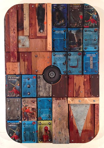 assemblage, book art, encaustic, distressed