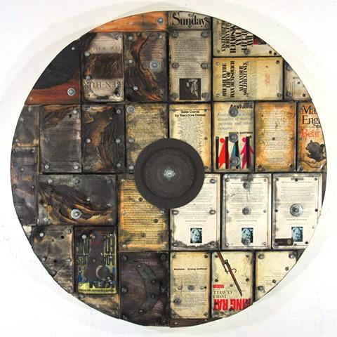 target mixed media art construction Burri Tapies