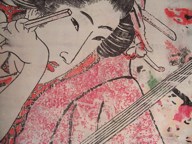 Detail of a panoramic shaped encaustic work showing Geisha and koy carp
