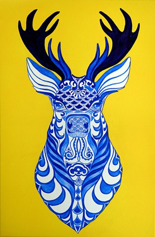 Stags head.Intricate design in blue. Stags head on a wall. Art print