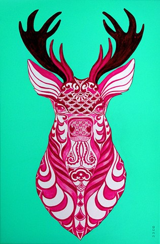 Stags head.Intricate design. Stags head on a wall. Art print