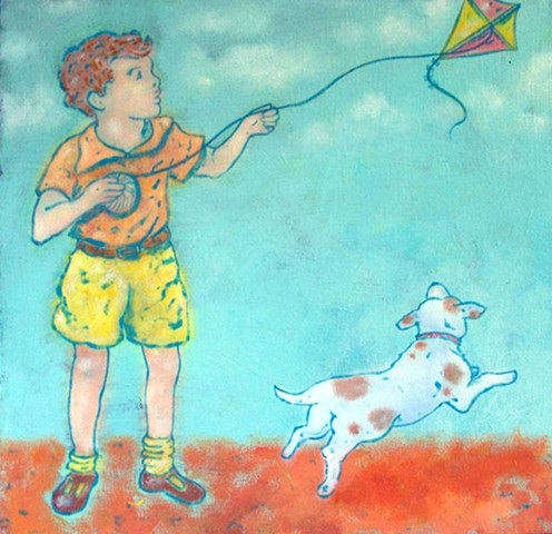 Boy flying his kite. kids art. kids.